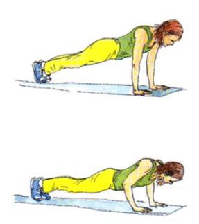 这是对前胸肌肉的一个非常好的锻炼,同时也可以锻炼肩部、三头肌和腹部。 关节警告 肩部、肘部、腰部。 起始姿势 趴在地上,双腿伸直,双脚分开几英寸。屈肘,手掌着地的位置比肩部