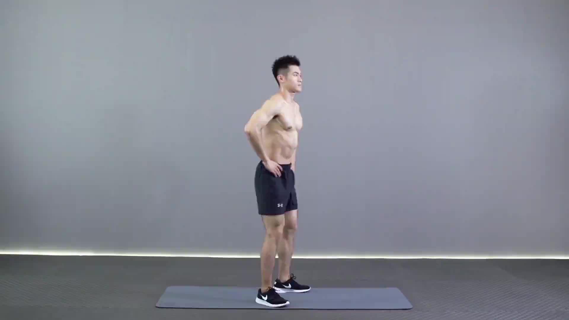 动作要领图                 1、脚尖与膝盖保持同一方向,下蹲膝盖不要超过脚尖         1、提膝至大腿略高于髋部         1、收紧腹部、臀部           主要肌肉示意图