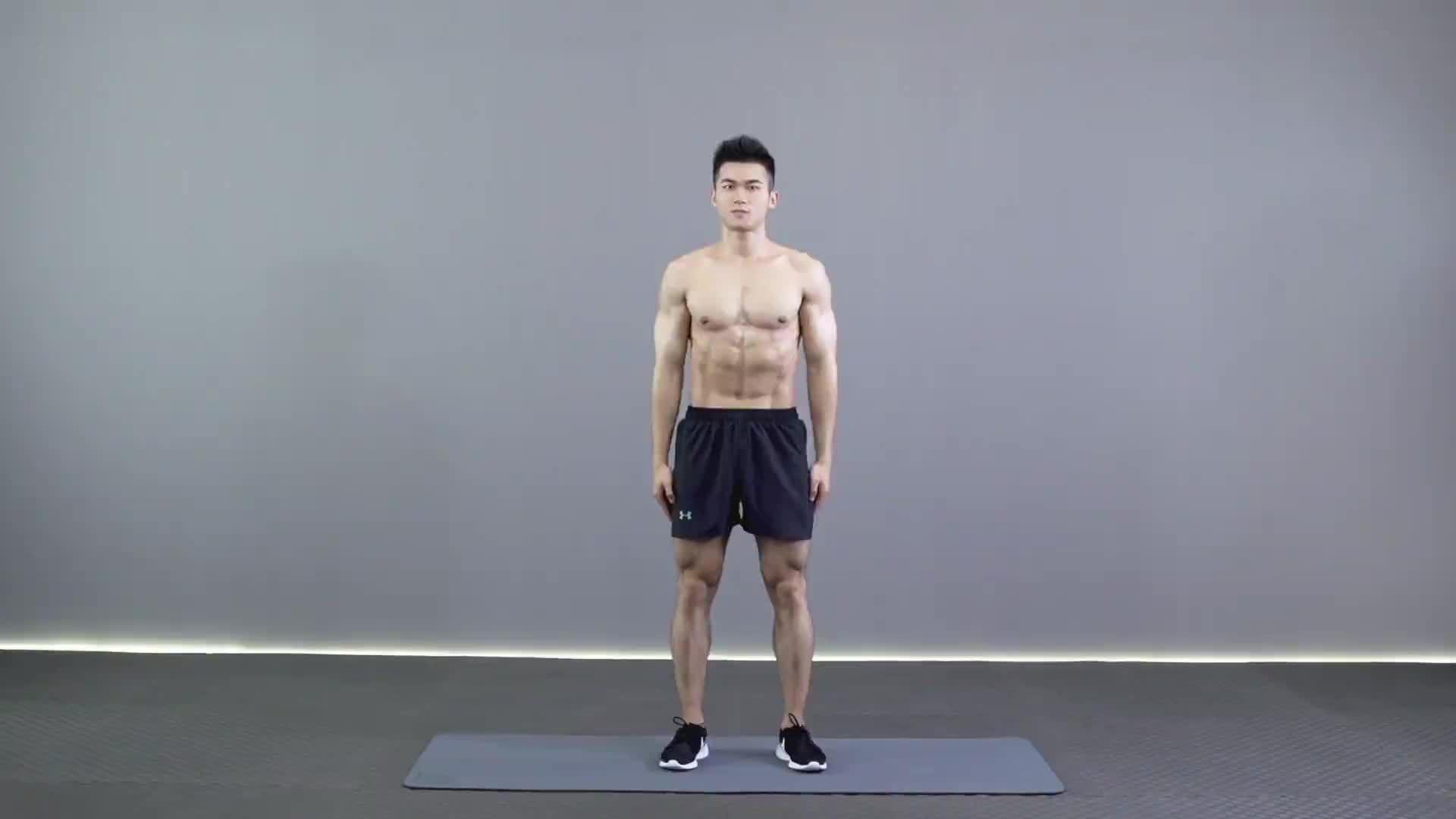 动作要领图                 1、两脚开立略小于肩,收紧腹部,腰背平直,臀部紧张2、脚尖与膝盖保持同一方向,大腿与地面小于90°           主要肌肉示意图        窄距全蹲的动